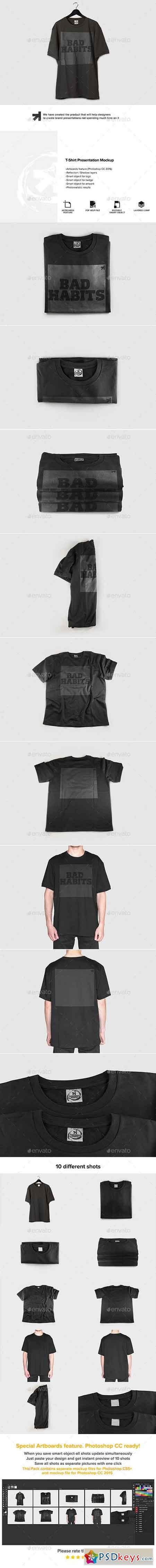 Black T Shirt Presentation Mockup Mock Ups