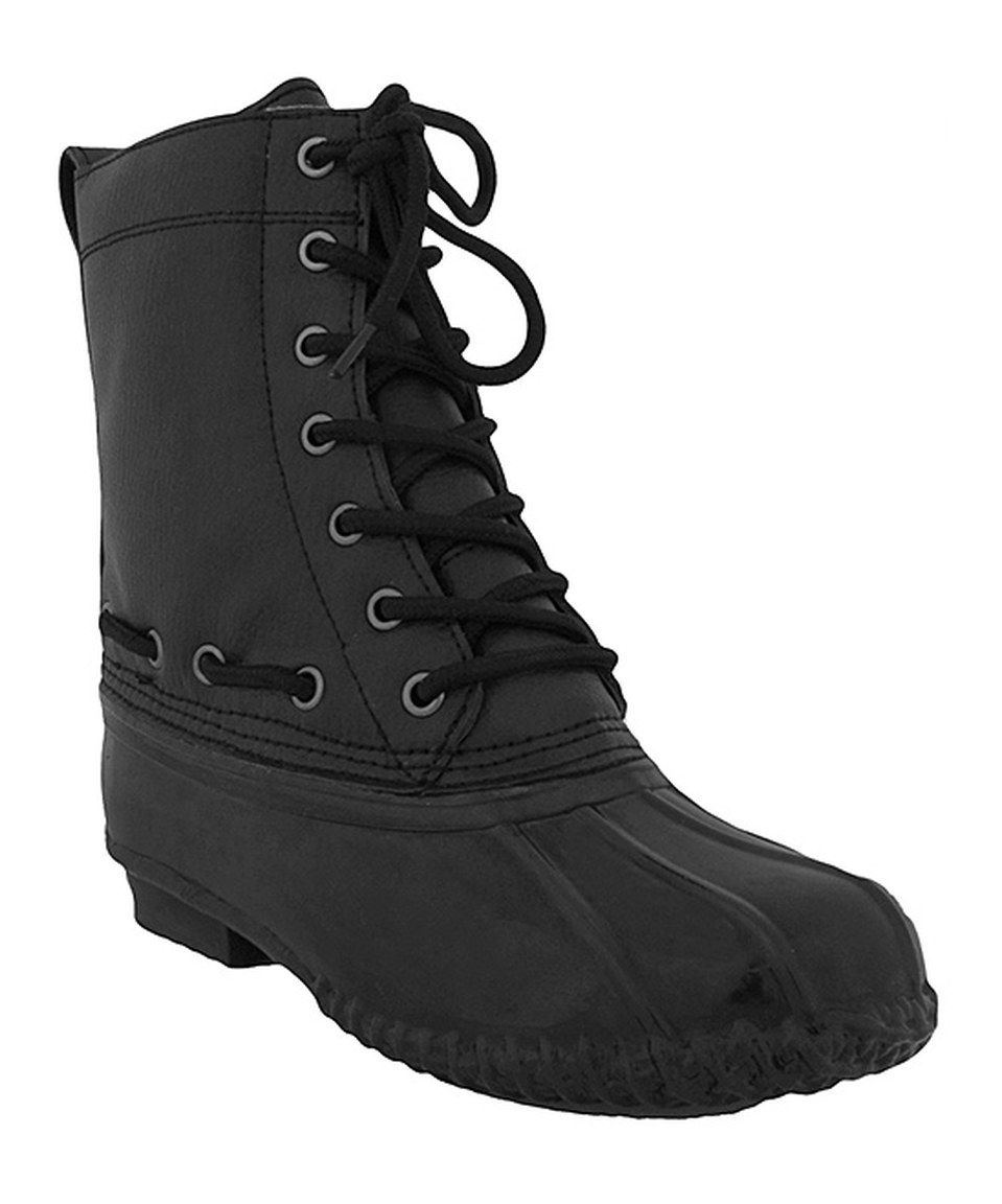 Black Lace-Up Rain Boot by Capelli New York #zulily #zulilyfinds