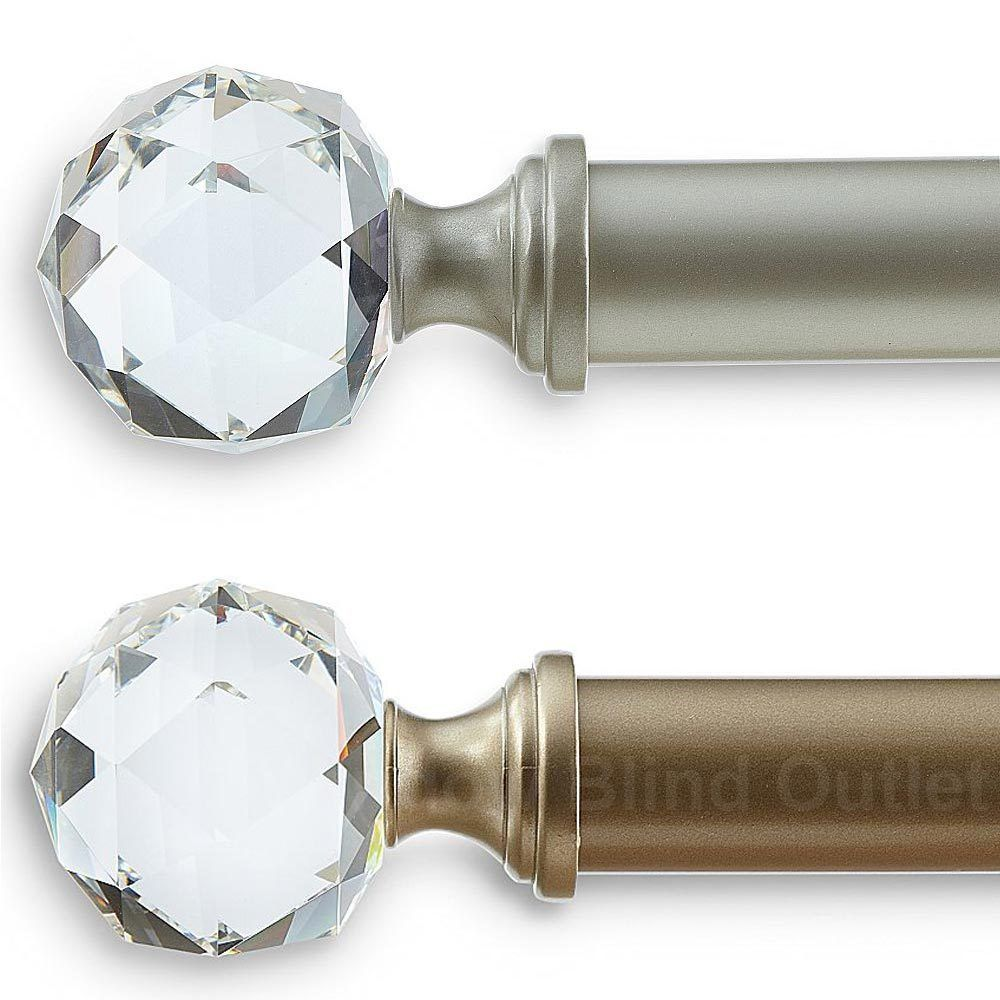 Crystal Jewel Curtain Rod Three Sizes Two Colors Crystal