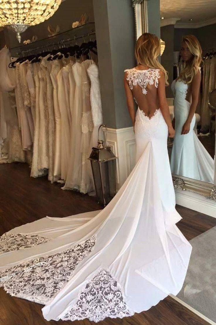 Elegant mermaid wedding dresses  Mermaid Wedding Dress  Jewel Sleeveless Court Train Open Back with