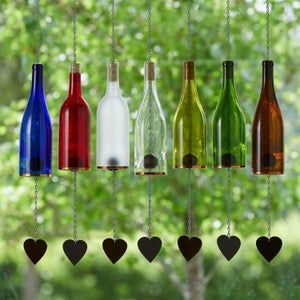 Glass Wind Chime Clear 178ml Glass Bottle Wind Chimes Decor Seasonal Decor Outdoor Living Gift Idea Garden Decor Gifts for Mom
