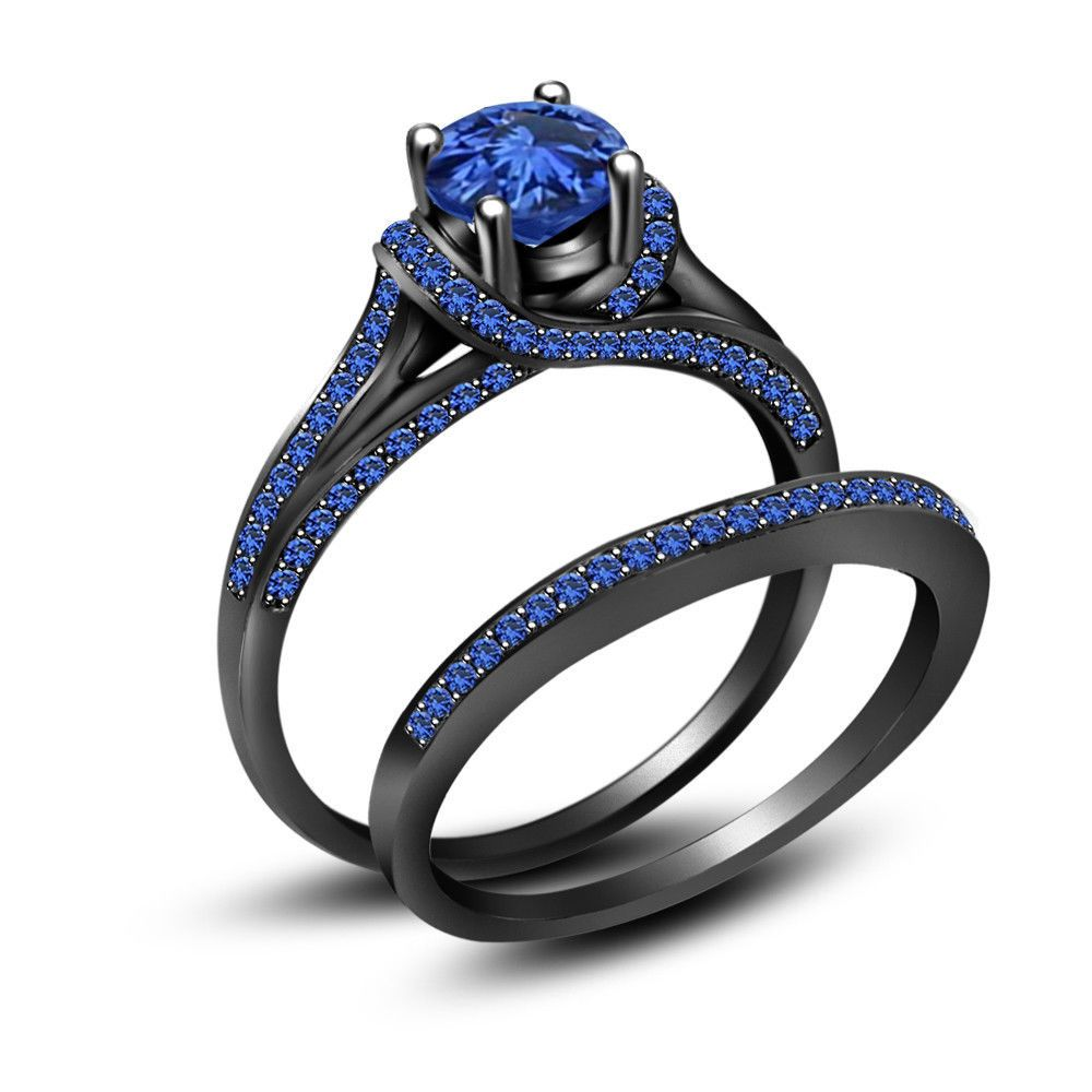3.50 ct blue sapphire full black 925 sterling silver engagement