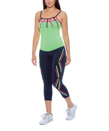 Another great find on #zulily! Navy & Green Cutout Camisole & Capri Leggings #zulilyfinds   ❥Join Our weight loss group: https://www.facebook.com/groups/VictoriaTHS/