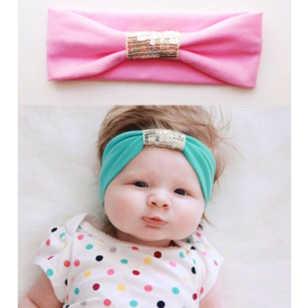 Photo of Jersey Sequin Baby Girl Headband – gold – black – purple – gray – baby girl head…