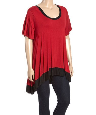 Another great find on #zulily! Red & Black Contrast Hi-Low Top - Plus #zulilyfinds