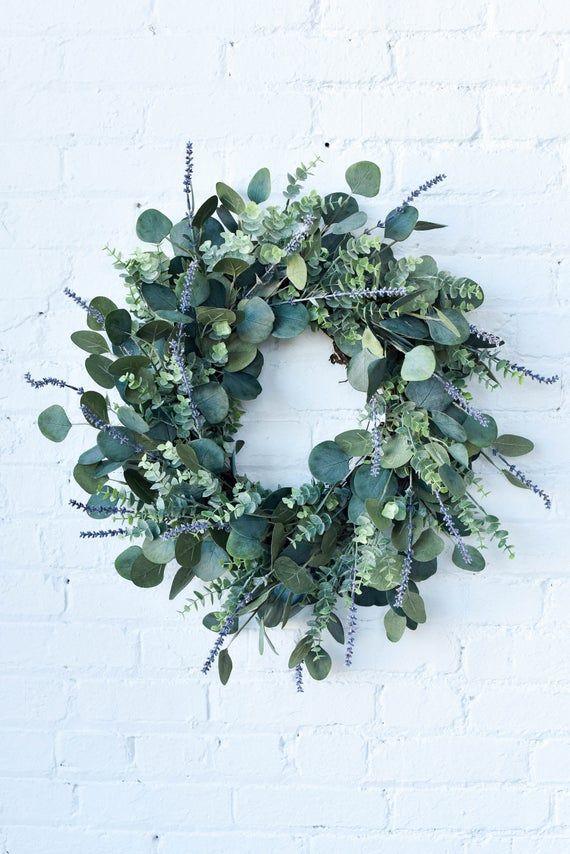 Photo of Eucalyptus and Lavender Wreath, Greenery Wreath, Everyday Wreath, Farmhouse Wreath