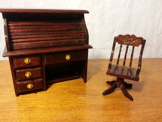 Dollhouse Miniatures Vintage Roll Top Desk And Desk Chair Roll Top Desk Dollhouse Miniatures Desk