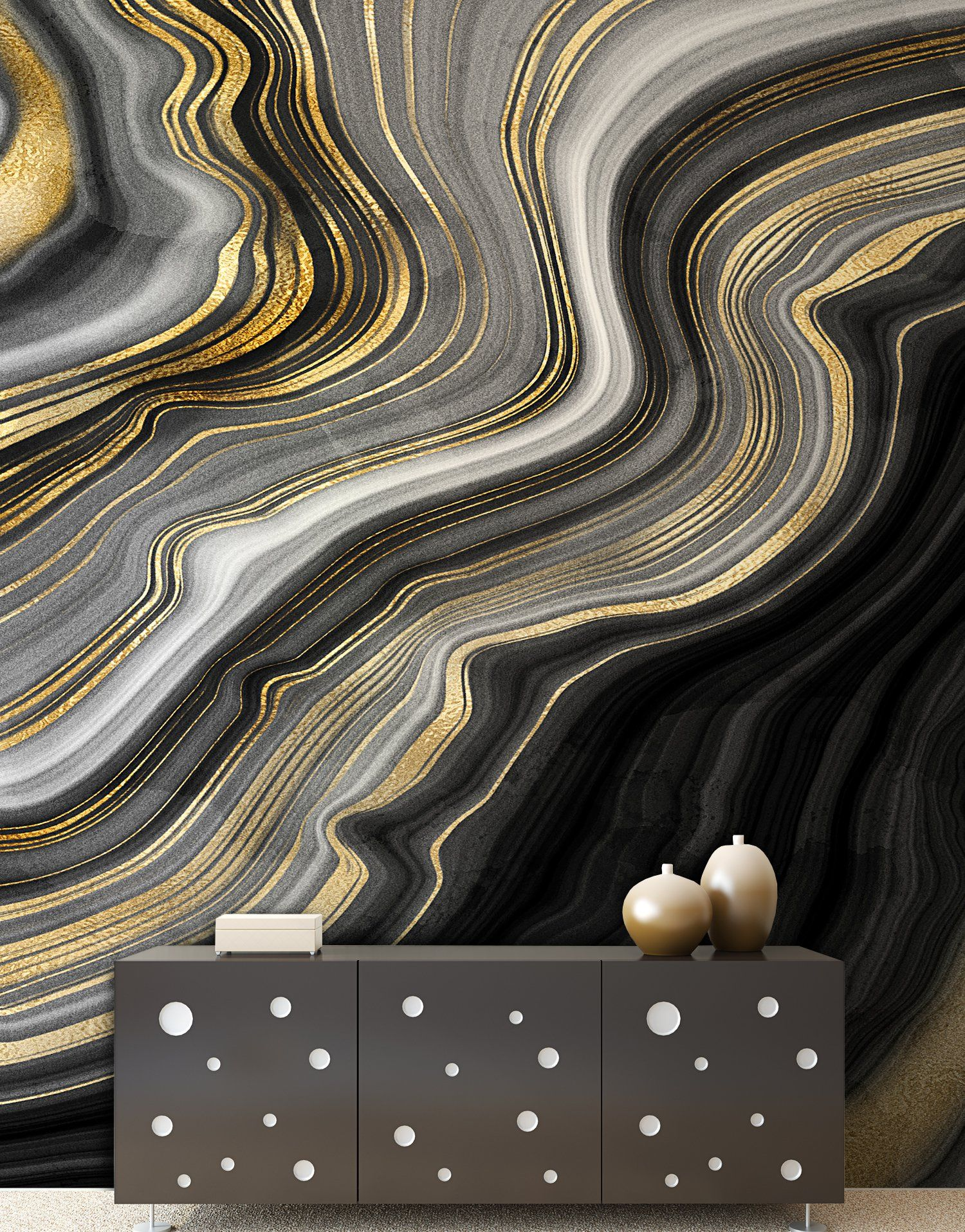 Black And Gold Abstract Marble Stone Pattern Wall Mural 6146 Wall Murals Wall Patterns Gold Painted Walls