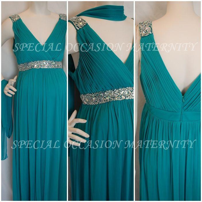 1396L Long Formal Evening Gown Chiffon Jewels Maternity Dress. Jade ...