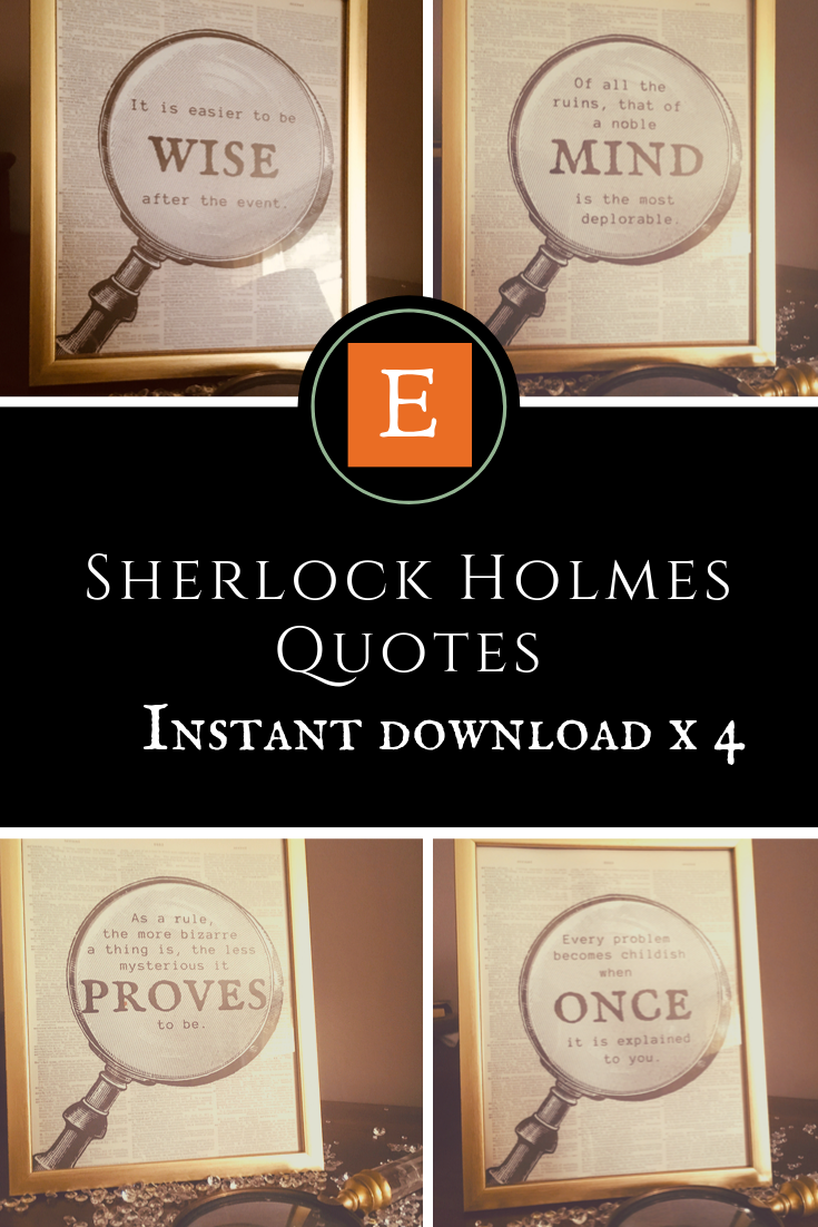 4 x INSTANT DOWNLOAD, Sherlock Prints x 4, 8×10 inch, Sherlock Quotes, Sherlock Holmes, Book Quotes, Printable Art