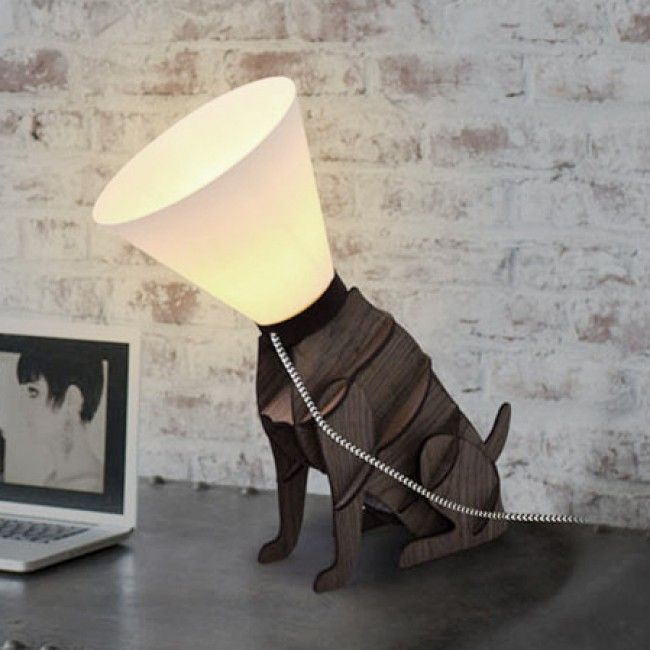 Black dog statue lamp with ivory shade