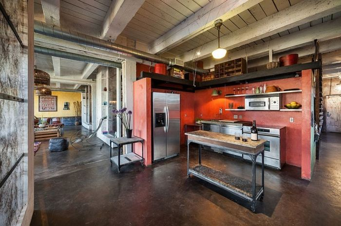 küche gestalten industrieller stil farbige akzente setzen | Indy ...