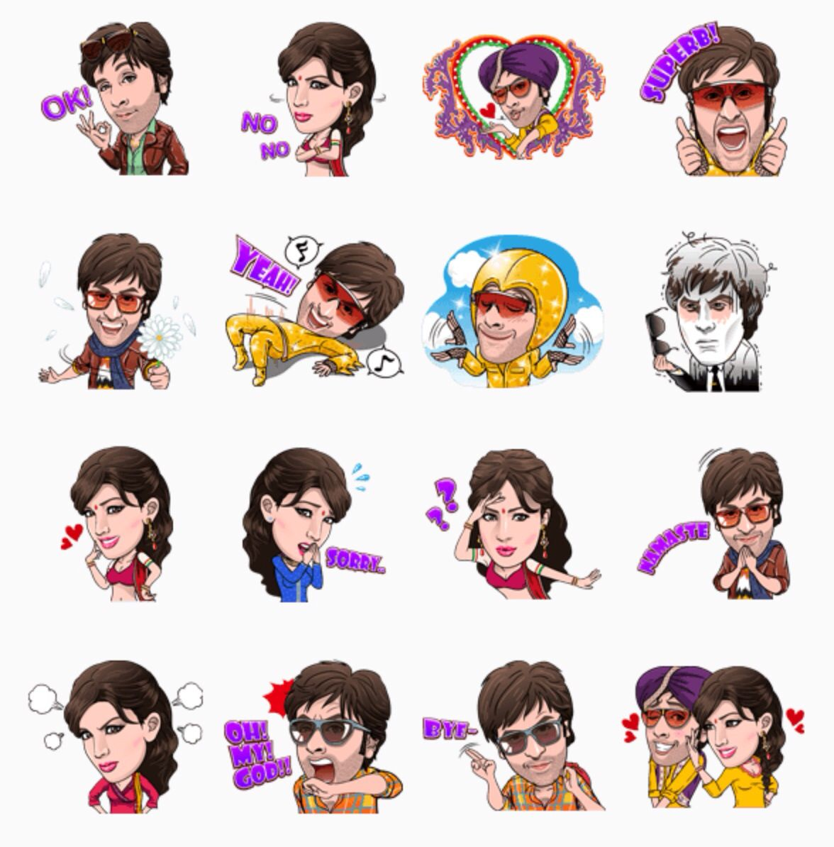 Besharam set funny stickers line sticker facebook movie posters fictional characters