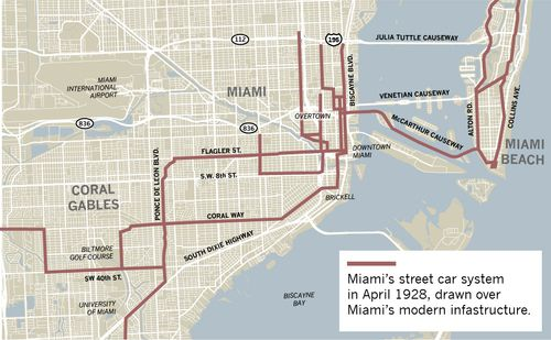 miami's old trolleys used to go everywhere, like the beach