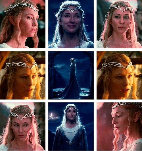 """(Gif set) """"Nae nin gwistant infanneth, mal ú-eichia i Chíril Lorien."""" ('Age may have changed me, but not so the Lady of Lorien.')"""