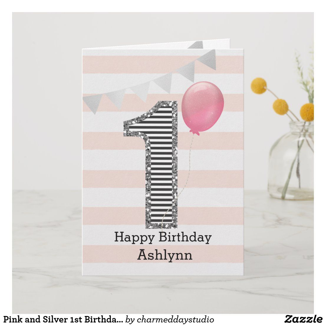 Pink And Silver 1st Birthday Girl Card Zazzle Com In 2021 First Birthday Cards Card Making Birthday 1st Birthday Cards