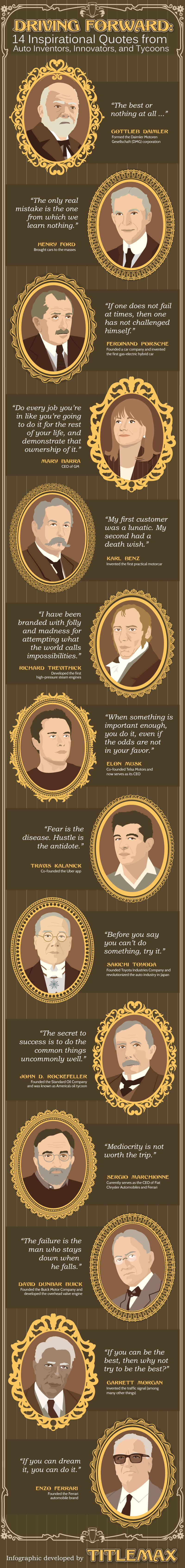 Driving Forward: 14 Inspirational Quotes from Auto Inventors, Innovators, and Tycoons #Infographic