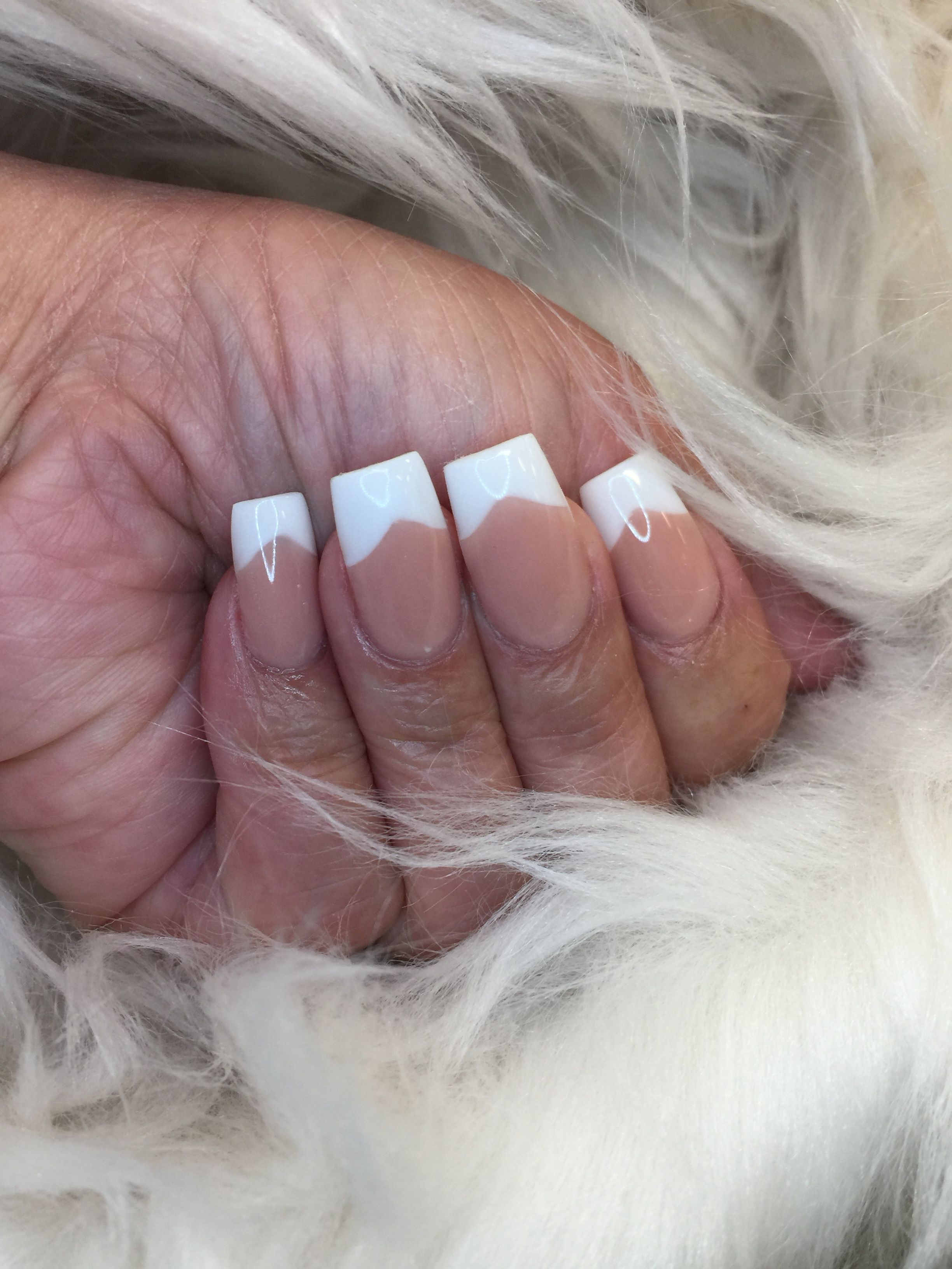 V Shape Pink And White French Manicure Nails Acrylic Nails