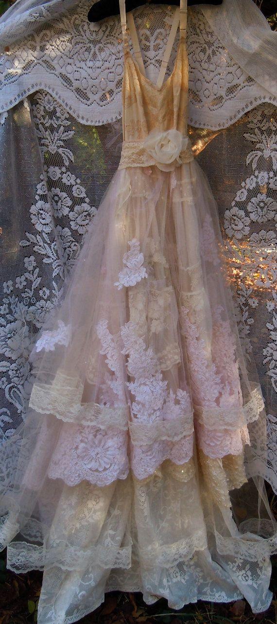 Lace Wedding Dress Lace Layered Blush Beading Romantic Boho Vintage