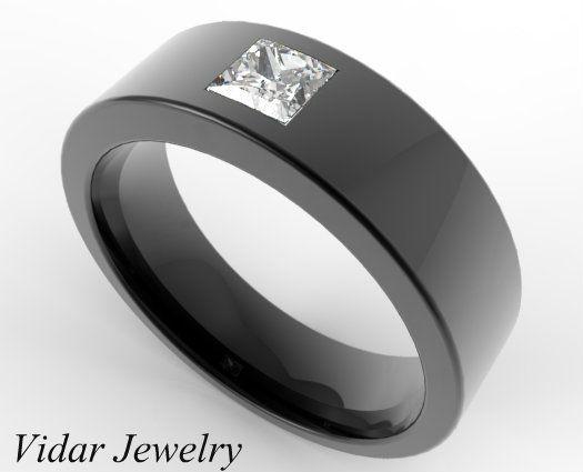 Black Gold Princess Cut Diamond Men S Wedding Band