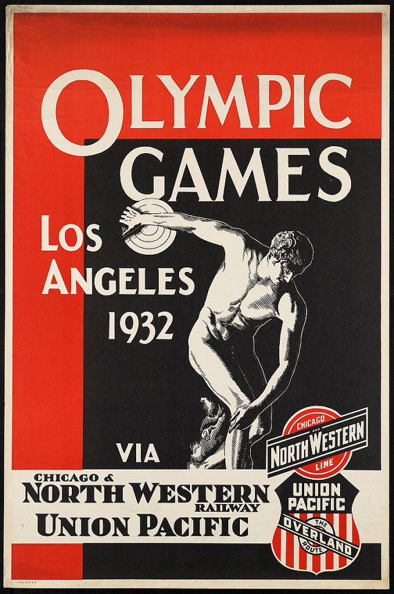 C 1930s 1932 Los Angeles Olympic Games Discus Travel Poster Antique Old Vintage Reproduction Photograph Photo Gi Olympic Games Summer Olympic Games Olympics