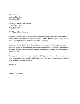 Resignation Letter  Resignation Letter And Purpose