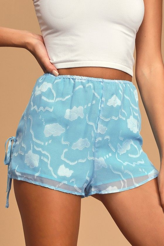 Floral For You Light Blue Lounge Shorts #lightblueshorts Floral For You Light Blue Lounge Shorts #lightblueshorts