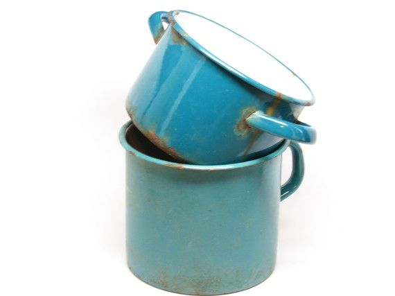 Vintage Turquoise Graniteware Set 2575 Glassnmoreetsy