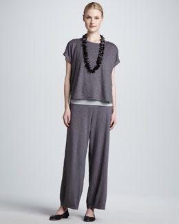-4A77 Eileen Fisher Cropped Boxy Top, Organic Cotton Slim Tank & Lantern Ankle Pants