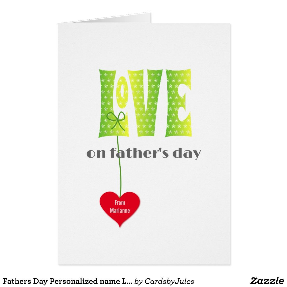 fathers day personalized name love card  zazzle