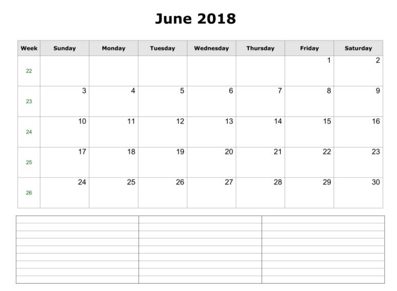 Printable June 2018 Blank Template Calendar Get Free for Wall and - printable blank calendar