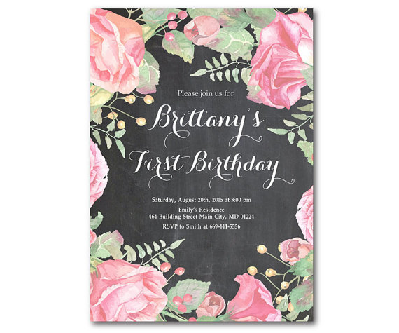 1st Birthday Invitation First Baby Girl Floral Watercolor Black And White Chalkboard Pe