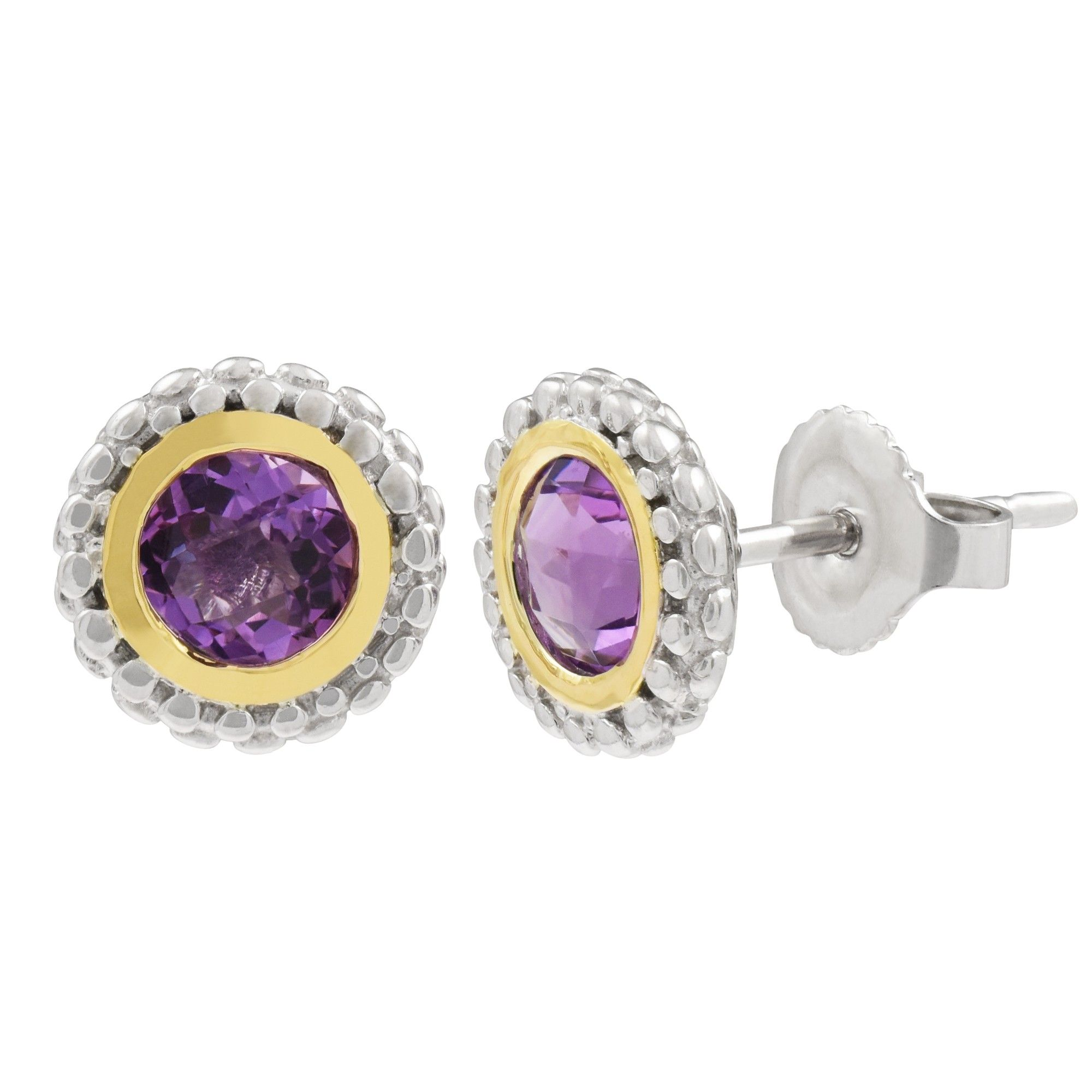 Phillip Gavriel Amethyst Stud Earrings in Sterling Silver and 18kt