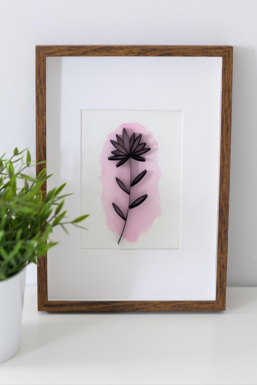 Minimalistyczne Kwiaty W Ramce Kwiaty Z Papieru Akwarele Minimalistyczne Dekoracje Do Domu Frame Decor Home Decor