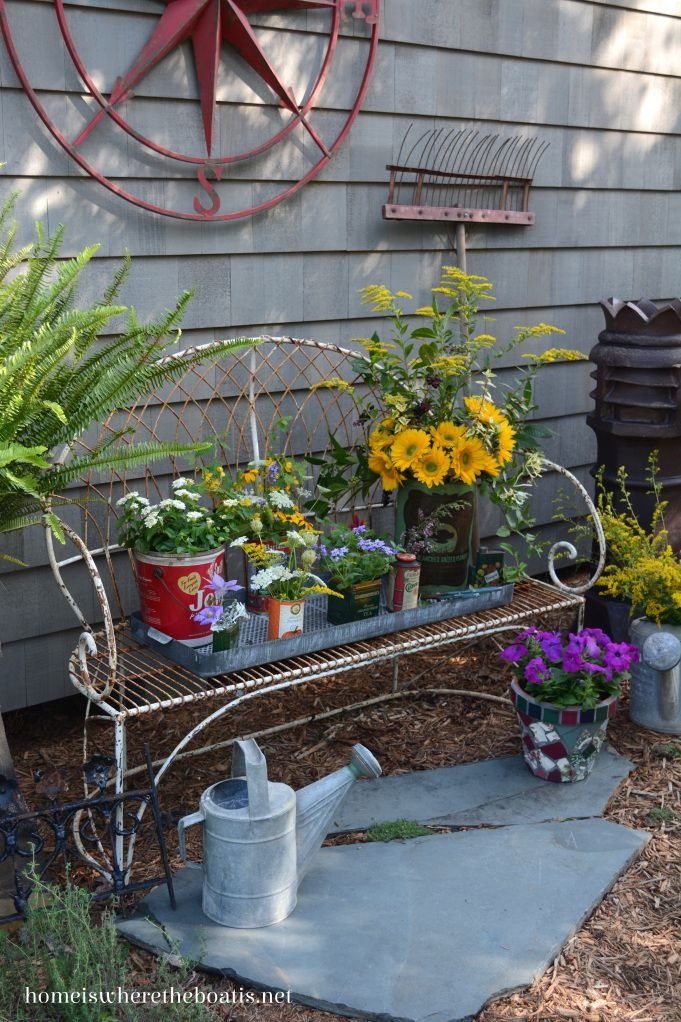 Tin Cans As Planters And Vases For Flowers