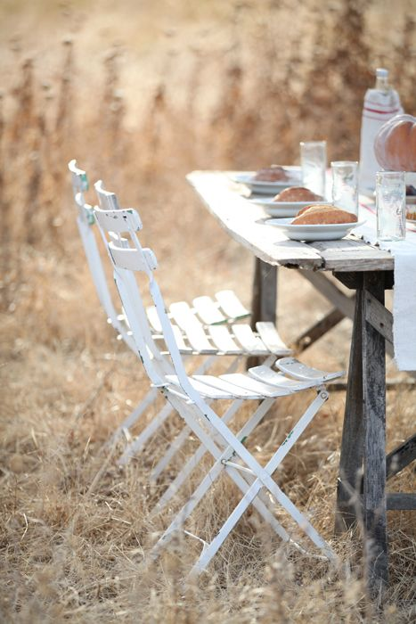 An Autumn Inspired French Farmhouse Table, French Heirloom Pumpkins, Vintage  French Kindergarten Chair