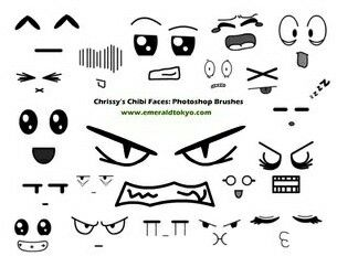 Anime faces, different expressions, text, funny, chibi ...