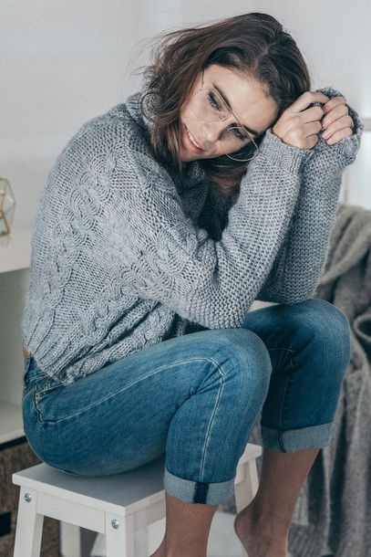 Sweater: tumblr grey cable knit cable knit grey denim jeans blue jeans cuffed jeans clear sunnies