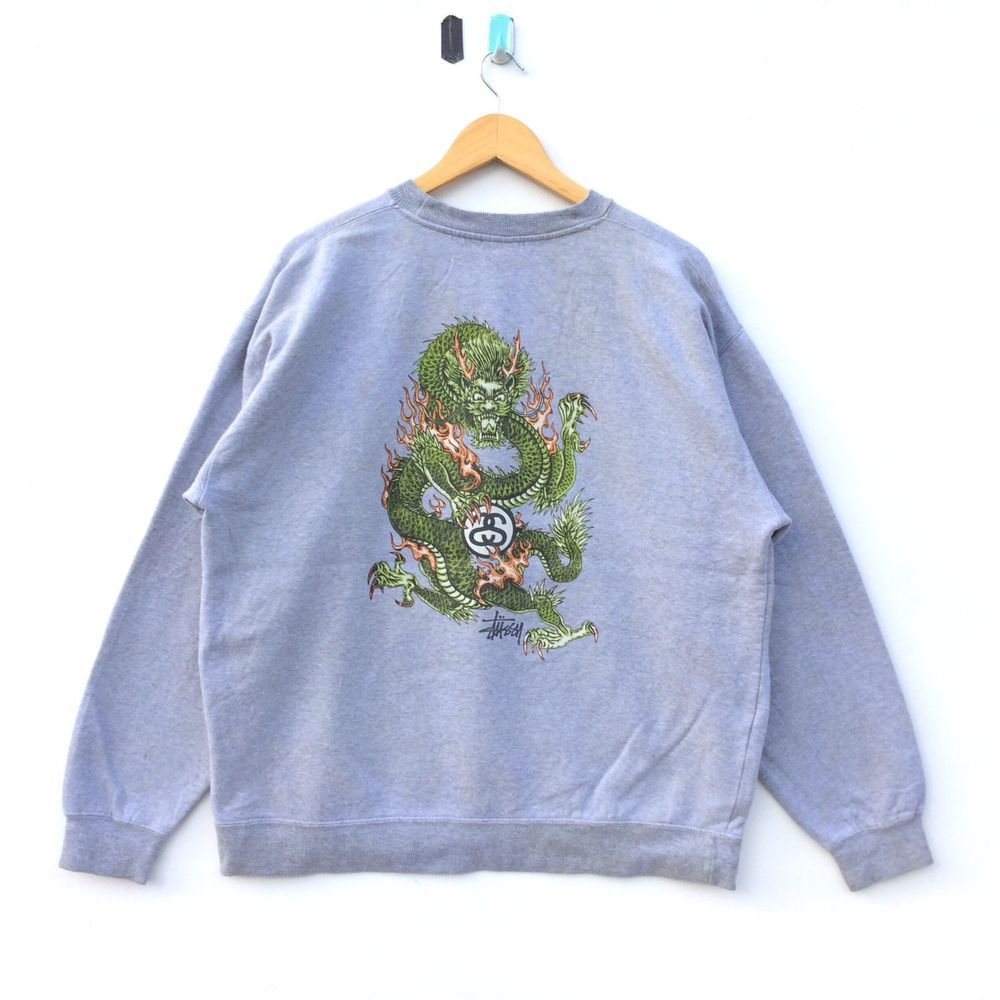 7a43bf6384372 Vintage Stussy Dragon Sweatshirt Made In Usa Large Skateboarding ...
