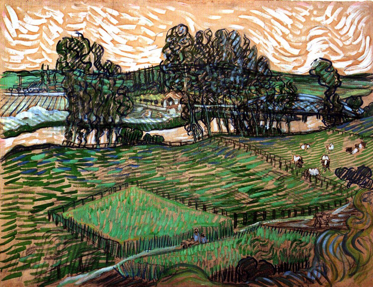 Vincent Van Gogh Landscape With Bridge Across The Oise 1890
