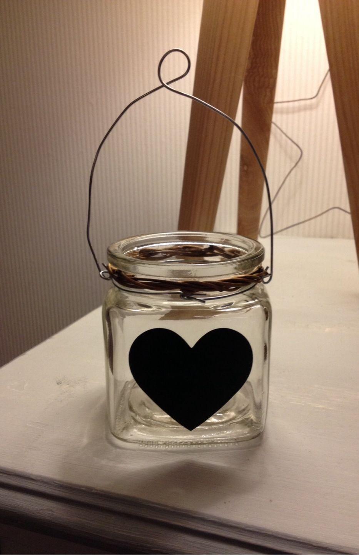 Petit Pot En Verre Avec Un Cœur Peinture Pour Craie : Vaisselle, Verres Par  Suite
