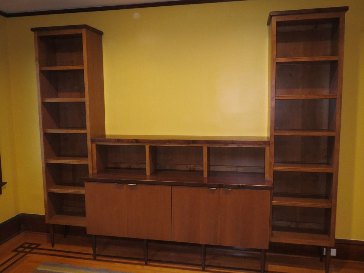 Custom Solid Alder Wood Bookcase With Darker Stained Surface Tops And Legs Designed