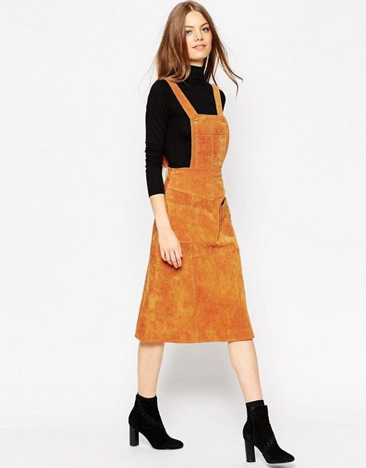 ASOS | ASOS Midi Skirt in Suede with Pinafore Bodice