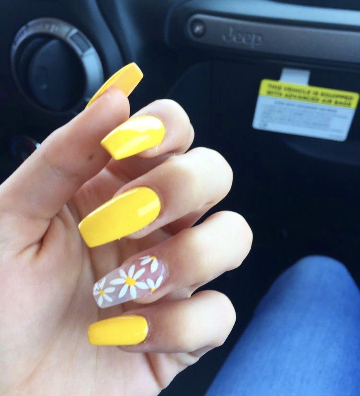 Pinterest Emmcornett Summer Acrylic Nails Yellow Nails Sunflower Nails