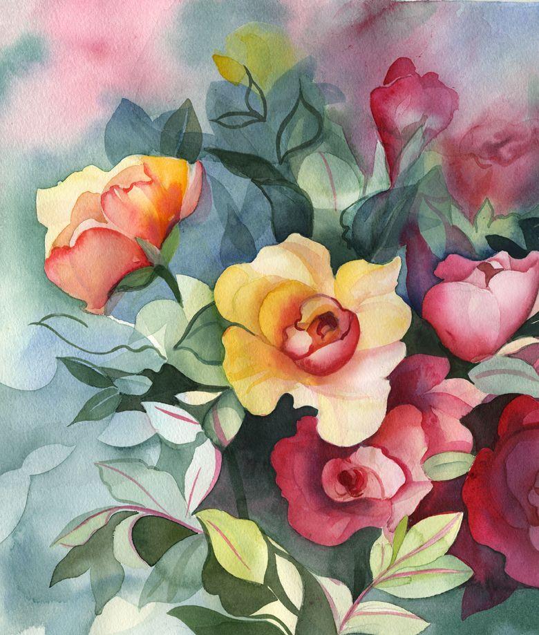 Смешных, картинки с цветами красивые нарисованные акварелью