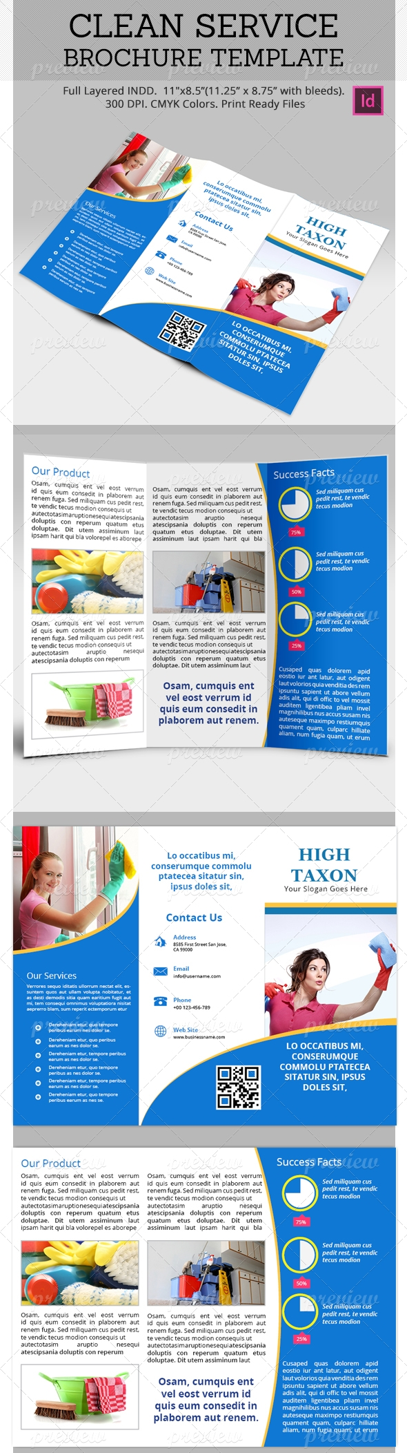 Clean Service Brochure Template  Brochure Template Brochures And