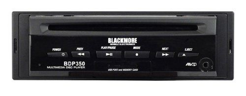 Blackmore BDP-350 In-Dash Multimedia Disc Player with Remote Fixed panel CD player. DVD/MP3/WMA compatible. Rear panel infrared remote eye. Four-second anti-shock. Coaxial/stereo/video output, USB & SD slot.  #Blackmore #CarAudioOrTheater