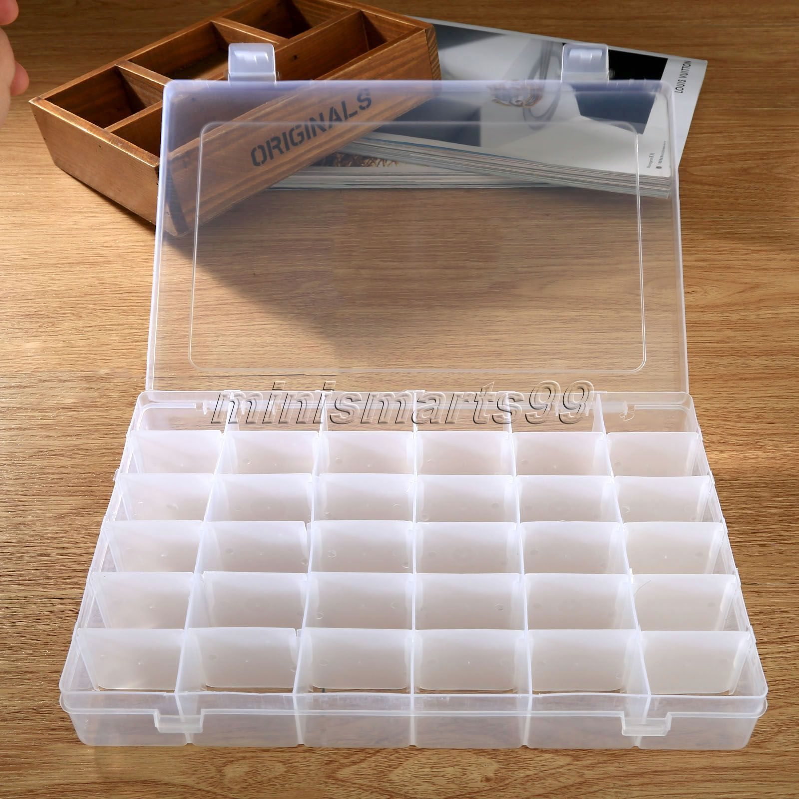 36 Compartment Transparent Adjustable Jewelry Box Holder Storage