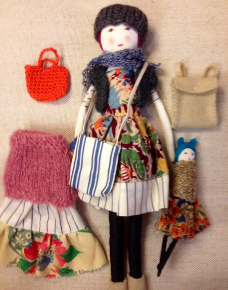 Handmade , Stylish, Dress up Fabric Doll,  gift for girls, accessories ,Sophie