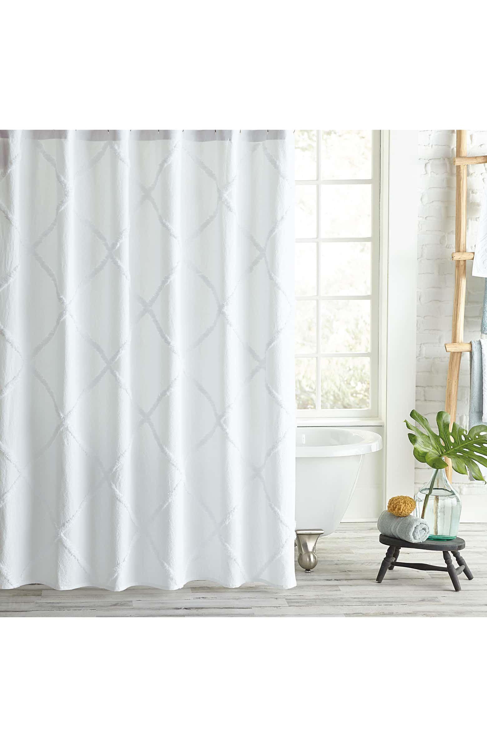 Peri Home Chenille Lattice Shower Curtain Peri Home White